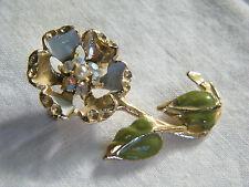 Beautiful Brooch Pin Gold Tone Enamel Flower AB Rhinestones Faux Pearl CUTE