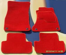 AUDI A4 & S LINE 2002 - 2005 CAR FLOOR MATS IN BRIGHT RED VELOUR CARPET + CLIPS