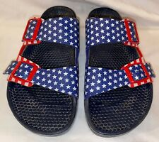 Womens 6 BIRKIS by BIRKENSTOCK HAITI Plastic Sandals USA Flag Red White Blue
