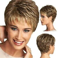 Women's Short Hair Full Wig Heat Resistant Gold Straight Synthetic Wigs Natural