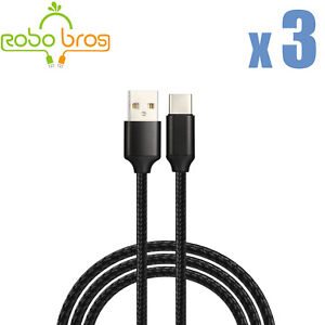3Pack Black 6FT Braided USB C Type-C Fast Charging Data SYNC Charger Cable Cord