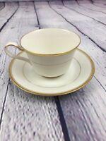 Noritake Ivory China Linton (7552) Gold Trim Coffee Cup & Saucer  / Japan