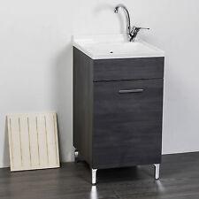 Mobile lavatoio per interno 1 anta 45x50 finitura rovere scuro + asse lavapanni