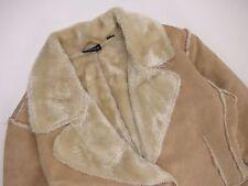 G6246 tranchées en peau de mouton manteau original premium beige à col doublure en fourrure taille 12