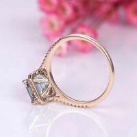 2.50 Ct Emerald Cut Aquamarine Diamond Halo Engagement Ring 14K Rose Gold Finish