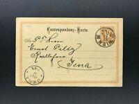 Ganzsache Österreich 2 Kreuzer Wien nach Jena 1890