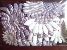 20 Light Purple or Lavender & White Elegant Silk Flowers With 10 Gems, New