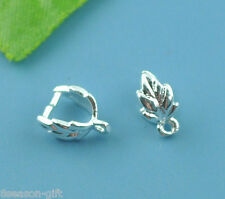 150 Silver Plated Leaf Pinch Bail Findings 9x7mm