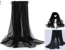2pcs Women Ladies Long Chiffon scarf cover wrap 162cm x 70cm Nylon NEW Black