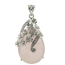 Handmade Jewelry Romantic Natural Rose Quartz Gemstone Silver Necklace Pendants