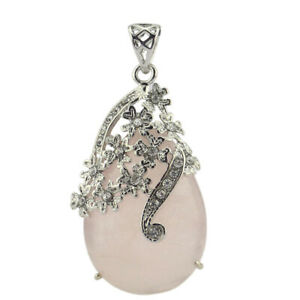 Handmade Jewelry Romantic Natural Rose Quartz Gemstone Silver Necklace Pendants