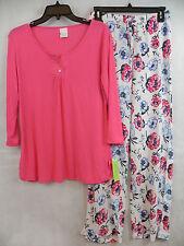 Zenista Womens Pajamas Floral Stretchy Knit PJ Pajama Set Coral Pink Lounge S
