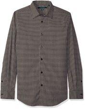 b76893ea45d83 Perry Ellis Círculo Imprimir Botones Camisa Negro para Hombre Talla Grande  Nuevo