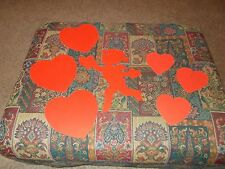 7 Vtg Beistle Cupid Valentine Hearts Diecut Cardboard Decorations Cute Red
