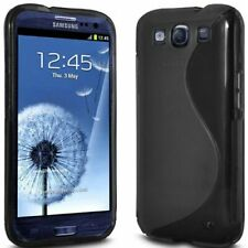 BLACK S LINE SOFT GEL CASE COVER FOR SAMSUNG S3,i9300 WITH SCREEN PROTECTOR