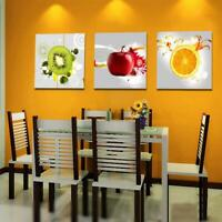 Set 3Pcs Canvas Fruits Wall Art Picture Retro Print Home Kitchen Bedroom