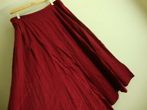 April Cornell Wine Red Skirt New XL Extra Large Vintage Romantic A-line NWT Tuck