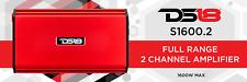 Ds18 S1600.2 1600 Watt 2 Channel Full Range Class Ab Amplifier Red Car Audio Amp