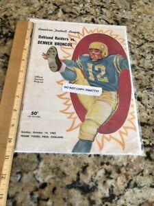 Oakland Raiders vs Broncos 1962 Program Pictorial Ex Cond NFL AFL HOF Al Davis