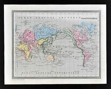 1835 Monin Fremin Map World Planisphere Mercador Projection America Asia Europe