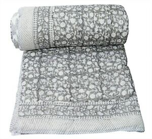 Indian Cotton Hand Block Print Reversible Razai Quilt Throw Twin Size Coverlet