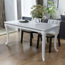6 Seater Modern High Gloss White Carved Dining Table Kitchen 120x70x76 Cm