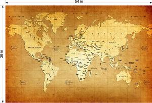 "36"" x 54"" VINYL BANNER VINTAGE WORLD MAP"