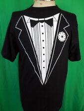 Vintage 1990s Black Cotton Tuxedo Formal Print Fun Festival Party T-shirt Small