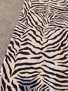 Pottery Barn Shower Curtain Zebra Brown White 100% Cotton Animal Print Exotic