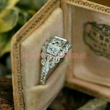 Engagement Ring Vintage Art Deco 3 Ct Diamond Ring Edwardian 14k White Gold Over