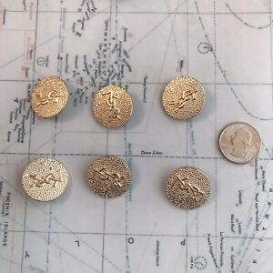 Set Of 6 YSL Stamped Button 24.8mm Gold Metal