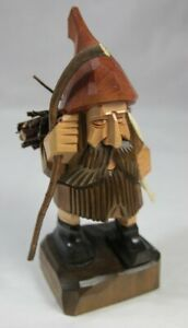 Vintage Carved Woodsman Figure - Eastern European Look Bundled Sticks Hat Beard