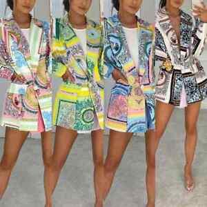 Women's Ladies Scarf Print Summer Holiday Fashion Party Blazer Jacket Coat Top