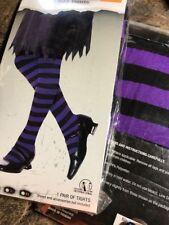 New Child XL Girls Halloween Purple Black Stripe Tights Costume Accessory Witch