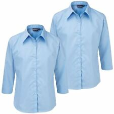 Ladies Womens Plus Size Blouse Shirt Top 3/4 Sleeve Work Office Formal Pack Of 2
