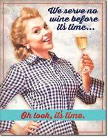 Serve No Wine Until Time Humor Funny Retro Kitchen Wall Art Decor Metal Tin Sign