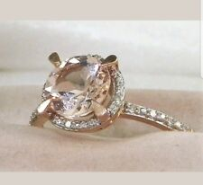 $450 Zales 10k Rose Gold 1.25ct peach Morganite halo Diamond Engagement ring