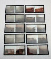 Dix plaques verre 6 X 13 stéréoscopique Cancale Ille et Vilaine