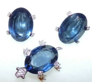 IMPORTANT SIGNED NETTIE ROSENSTEIN TURTLE PIN & EARRINGS WITH LARGE BLUE STONES