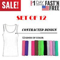 12-Color-Pack Women's Sport Yoga Tank Top Racerback Camisole S M L XL Vest Knit