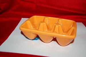 Williams Sonoma 6 Egg Crate Orange Ceramic Heavy Easter Egg Holder New