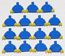 LEGO LOT OF 15 NEW PLAIN BLUE TORSOS WITH YELLOW HANDS PARTS