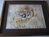 Marilyn Zapp Large Tiger Original Etching & Mono, Mixed Media, Framed, Signed