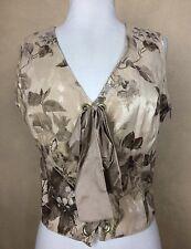 My Boyfriend's Back Floral Vest Sleevless Top Lace Up Corset Side Zip Size M