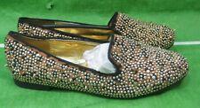 new ladies Black Gold Stud/Spikes Low Heel Slip On sexy Ballet Flats Size 5.5