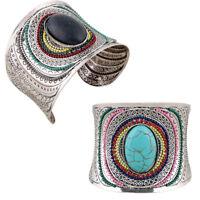 Boho Retro Ethnic Turquoise Silver Carved Punk Wide Bangle Cuff Bracelet Jewelry