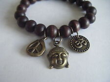 Spiritual Inspirational Healing Stacking Bracelet Om Buddha Peace ECO Wood Beads