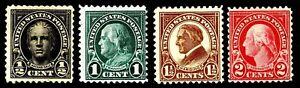 US.#551-554 FLAT PLATE ISSUE of 1923-25 - OG-H - VF - CV$4.50 (ESP#1308)