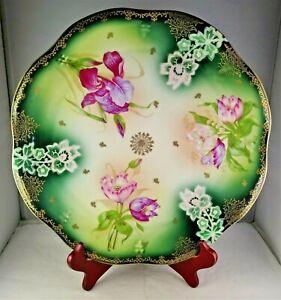 Antique Porcelain Flower Design Platter Hand Painted Accents Fancy Gold Trim