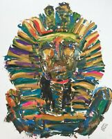 PRINT King Tut Egyptian Sarcophagus Abstract Palette Knife Painting Art Bold